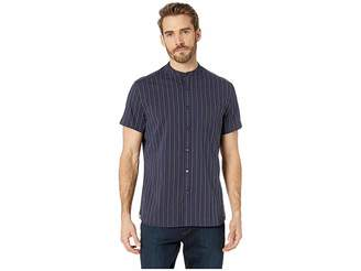 Kenneth Cole New York Bold Striped Short Sleeve Band Collar Button Down Men's Clothing