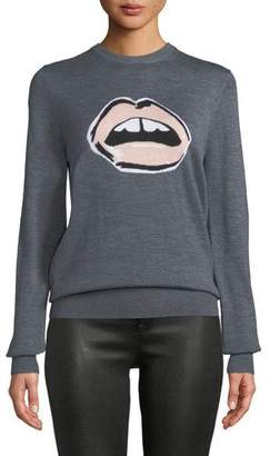 Markus Lupfer Mia Painted Lip Intarsia Wool Pullover Sweater