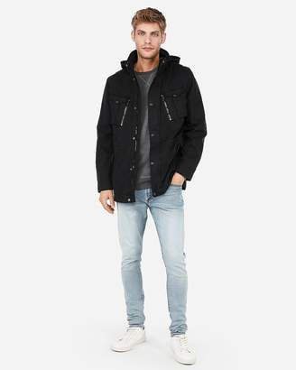 Express Black Garment Dyed Hooded Field Jacket