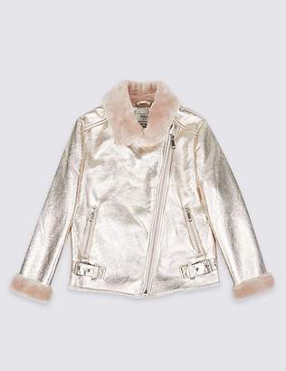 Marks and Spencer Metallic Bonded Biker Jacket (3-16 Years)