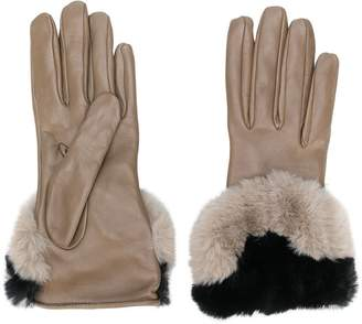 Gala Gloves contrast faux fur gloves