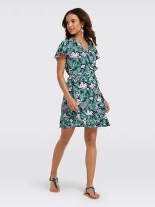 Draper James Tropical Floral Wrap Dress