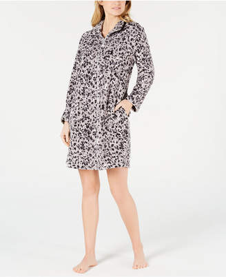 Miss Elaine Petite Printed Fleece Short Zip-Up Robe d8783df02