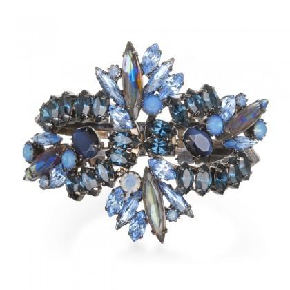Elizabeth Cole Denim Blue Rhinestone Cuff