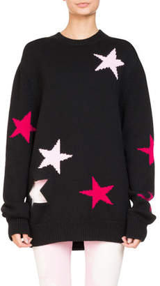 Givenchy Star Knit Crewneck Oversize Sweater