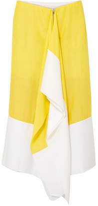 Marques Almeida Marques' Almeida - Asymmetric Two-tone Crepe De Chine Midi Skirt - Chartreuse