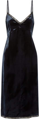 Prada - Lace-trimmed Velvet Dress - Navy $1,780 thestylecure.com