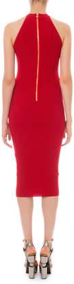Balmain High-Neck Ribbed Body-Con Dress