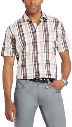 Van Heusen Short Sleeve Checked Button-Front Shirt