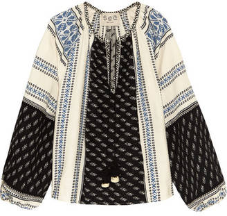 SEA - Embroidered Cotton And Linen-blend Gauze Blouse - Black $325 thestylecure.com