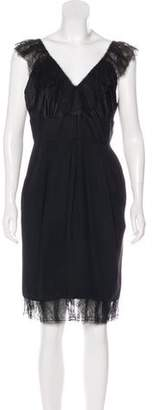 J. Mendel Sleeveless Lace-Trimmed Dress