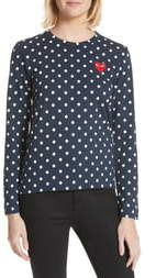 Comme des Garcons Red Heart Polka Dot Tee