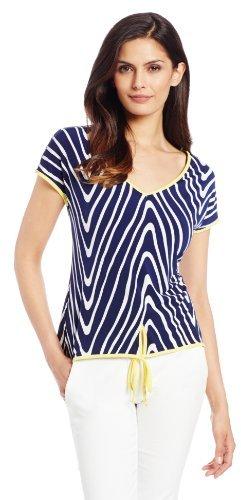 Annalee + Hope Women's Printed Short Sleeve Top with Self Tie