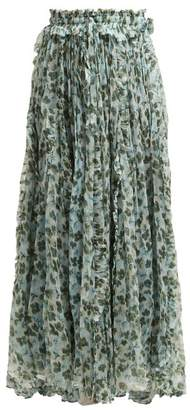 Lee Mathews - Nina Godet Floral Print Silk Skirt - Womens - Green Multi