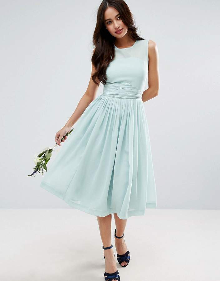 Asos ASOS WEDDING Midi Dress With Rouche Panel Detail
