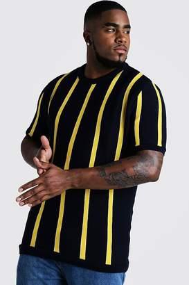 boohoo Big & Tall Short Sleeve Striped Knitted T-Shirt