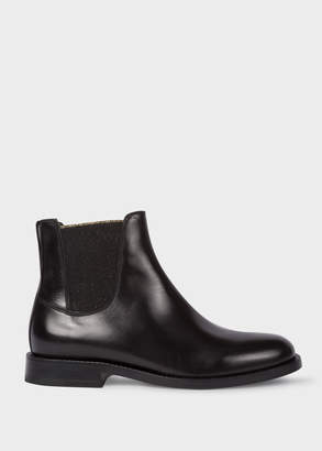 Paul Smith Women's Black Leather 'Camaro' Chelsea Boots With Glitter