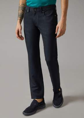 Giorgio Armani Slim Fit Jeans In Wool, Linen And Silk