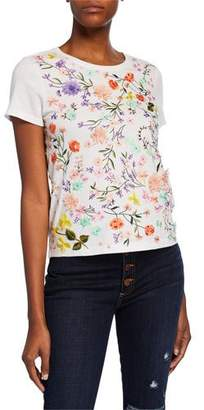 Alice + Olivia Rylyn Floral Embellished Short-Sleeve Crewneck Top