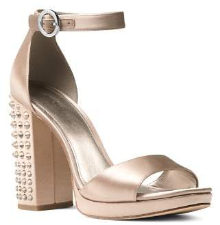 MICHAEL Michael Kors Women's Erika Studded Satin Ankle Strap Sandals