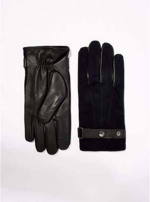 Topman Mens Black Leather Gloves with Navy Text