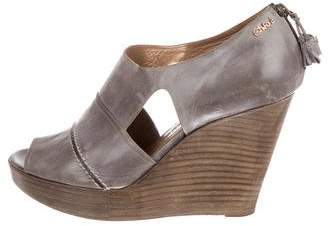 Chloé Leather Cutout Wedges