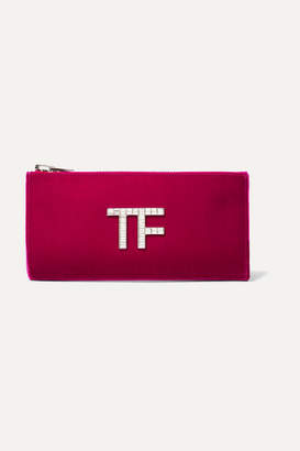 Tom Ford Crystal-embellished Velvet Clutch - Pink