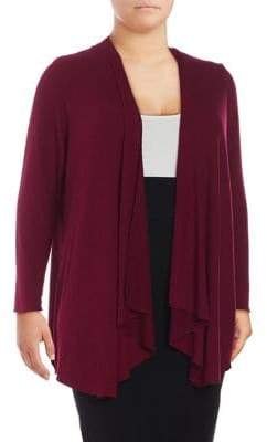 Context Plus Ribbed Open Front Cardigan