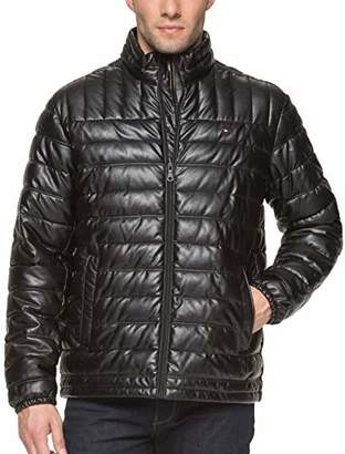 Tommy Hilfiger Men's Big and Tall Lightweight Quilted Faux Leather Puffer Jacket