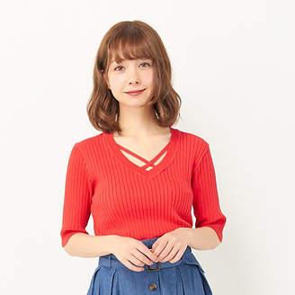 INGNI (イング) - INGNI 【春の新作】12GRYNYリブVN5分袖ニット