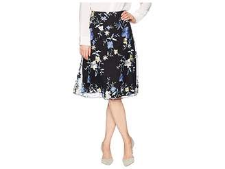 ECI Embroidered Floral Midi Skirt Women's Skirt