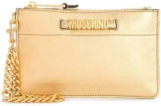Moschino logo plaque clutch bag