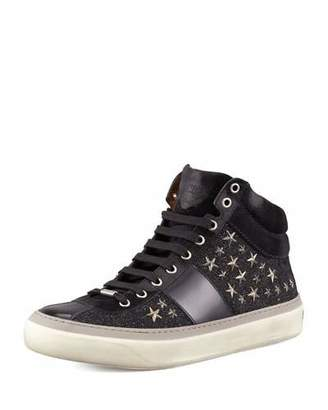 Jimmy Choo Men's Star-Studded Hi-Top Sneakers, Black/Gunmetal