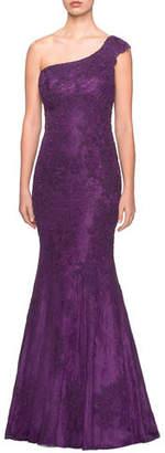 La Femme One-Shoulder Sleeveless Lace Mermaid Gown