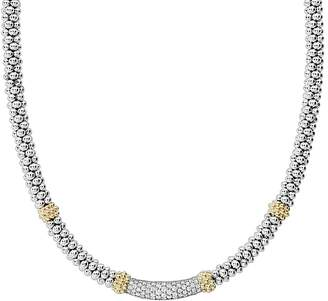 """Lagos 18K Gold & Sterling Silver Diamond Lux Collar Necklace, 18"""""""