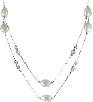 Sterling Silver Freshwater Cultured Pearl Bead Long Necklace