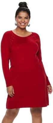 Iz Byer Juniors' Plus Size Lace-Up Shoulder Sweaterdress