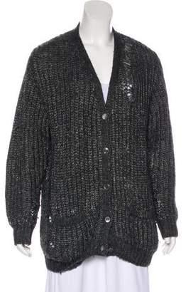 Saint Laurent Distressed Knit Cardigan
