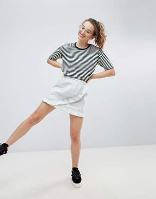 Monki Ruffle Wrap Skirt