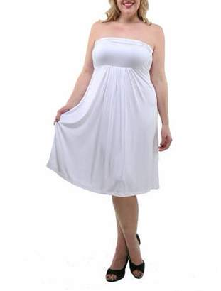 24/7 Comfort Apparel Women's Plus Size Strapless Dress