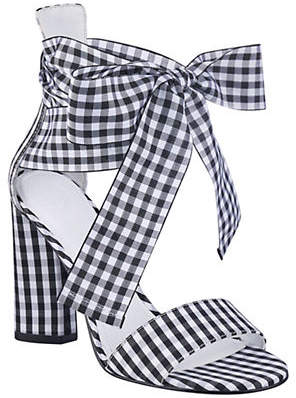 GUESS Allison Gingham Ankle-Wrap Sandals