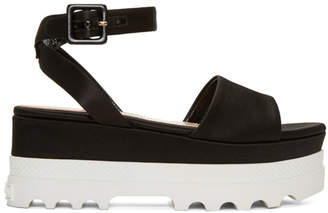 Miu Miu Black Satin Platform Sandals