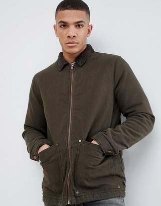 Pull&Bear Cord Collar Jacket In Khaki