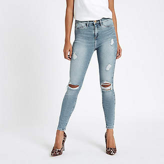 River Island Petite light blue Molly ripped jeggings