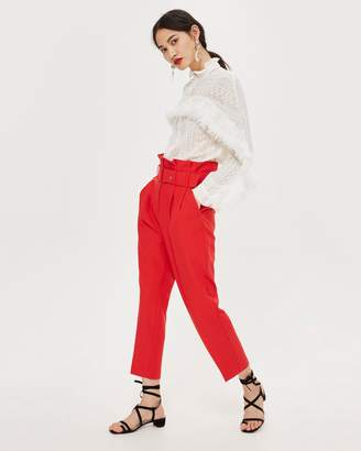 Topshop Paperbag Belted Tapered Trousers