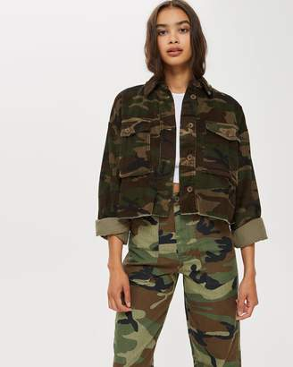 Topshop Cord Camouflage Shacket