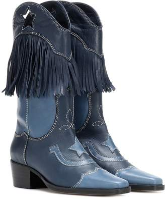 Ganni Texas Fringes leather cowboy boots