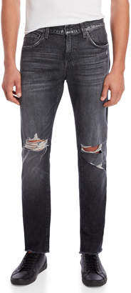 7 For All Mankind Black Paxtyn Distressed Tapered Jeans