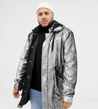 Asos DESIGN Plus longline sequin parka in silver