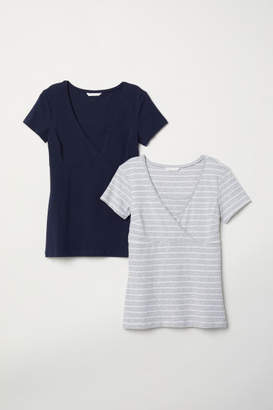 H&M MAMA 2-pack Nursing Tops - Blue